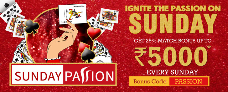 Get Rs 5000 Bonus on Sundays at RummyPassion