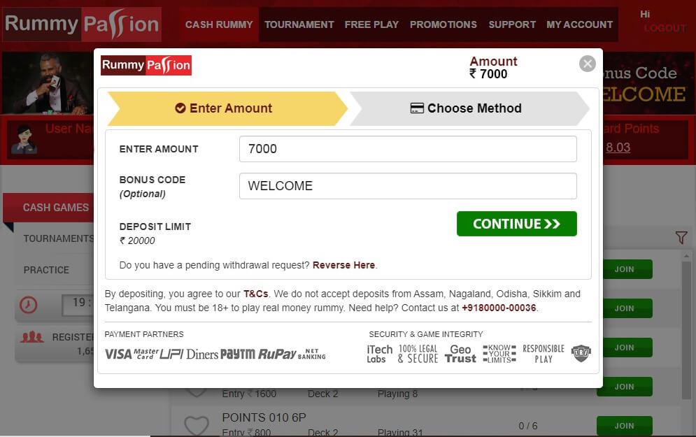 Enter amount and Bonus Code WELCOME