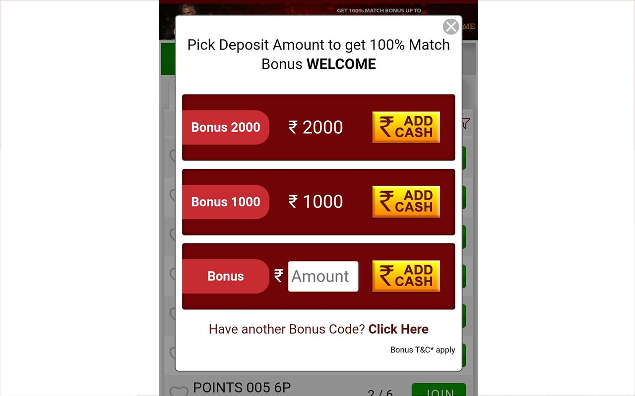 Click on Add Cash