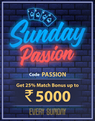 Get Rs. 5000 Sunday Passion Bonus at RummyPassion