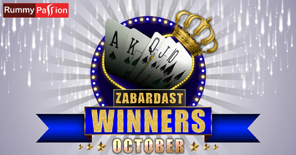Rummy Passion Congratulates its October Winners
